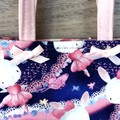 Girls Ballerina Tote - Bunnies Pink Bows Butterflies