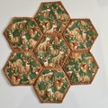 Deers Hand-pieced Hexagon Table Centre