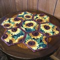 Sunflowers Hand-pieced Hexagon Table Centre