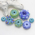 Blue and Green Mixed Set of Lampwork Glass Beads