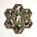Cows Hand-pieced Hexagon Table Centre