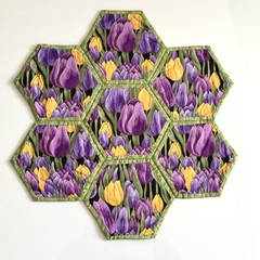 Purple Tulips Hand-pieced Hexagon Table Centre