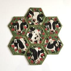 Cows Hand-pieced Hexagon Table Centre