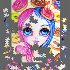 "500 Piece Jigsaw Puzzle ""Donut Princess"" Brisbane Artist Jaz Higgins FREE POST"