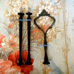 BLACK 3 tier HEAVY Crown Cake Plate Stand Fitting  DIY