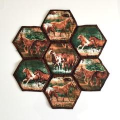 Horses Hand-pieced Hexagon Table Centre