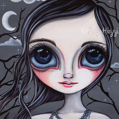 """Gloomy Moon"" Art Print by Jaz Higgins - Gothic Dark Whimsical Home Wall Decor"