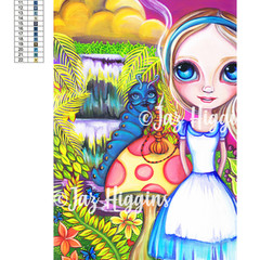 "5D Diamond Painting Kit ""Alice and Absolem"" - Complete Art Kit Full Square Drill"