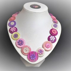 Flower button necklace  - Cherry Blossom.
