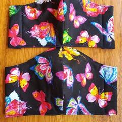 Fabric Facemask - Rainbow Butterflies on Black