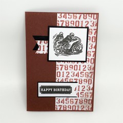 Birthday Card - Motorbike on Red