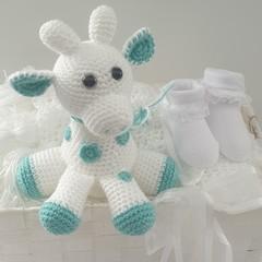 White Baby Giraffe Gift Basket