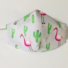 READY TO POST 3 layer Mask Cactus Flamingo Face Cover Reusable Cloth Mask