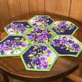 Purple Pansies Hand-pieced Hexagon Table Centre