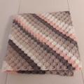 Crochet Wool/Acrylic Blanket peach cream grey beige colours