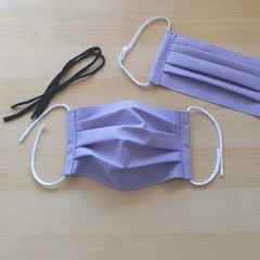 New Size! S,M,L/Lilac/ Handmade Pleated Face Mask with filter pocket & Nose Wire