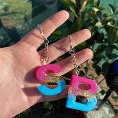 Pink, Blue and Gold Glitter Resin Letter Keyring - Initial Keychain