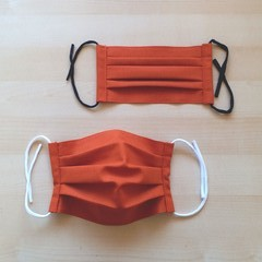 New Size! S,M,L/Brick Orange/Pleated Face Mask with filter pocket &Nose Wire