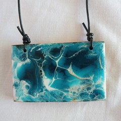 Cypress wooden block, abstract resin design, adjustable sliding Leather Cord.