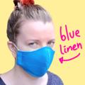 Women and Teen Mid Blue Linen Face Mask