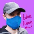 Mid Blue Men Linen Face Mask