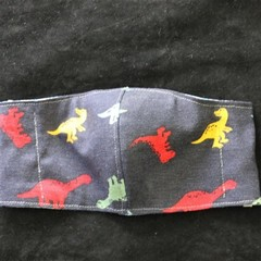 Dinosaur Fabric/Blue Face Masks size: 3-6yrs kids