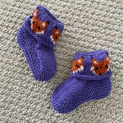 Purple Fox booties - Hand knitted in Pure Wool