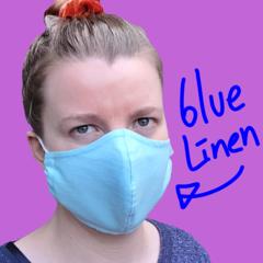 Women and Teen Light Blue Linen Face Mask