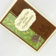 Confirmation Card - Cream, Brown with leaf print