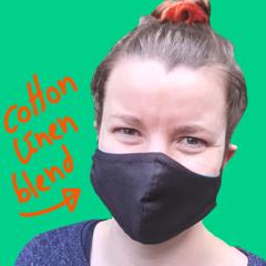 Women and Teen Black Cotton Linen Blend Face Mask