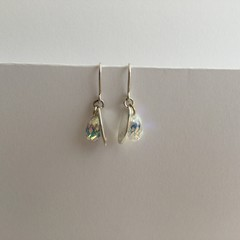 Oval sterling silver hand pierced drop charm earrings with Swarovski crystals