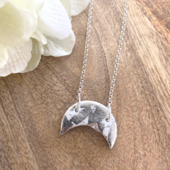 Sterling Silver Chain Necklace with Polymer Moon Charm