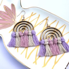 Rainbow pastel macrame earrings