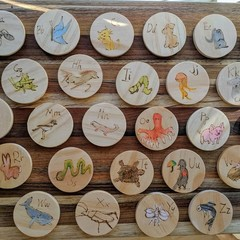 Alphabet wooden animal tiles
