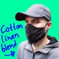 Men Black Cotton Linen Blend Face Mask
