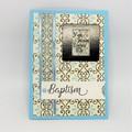 Baptism Card - Blue, Cream