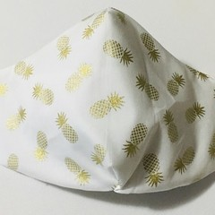 READY TO POST 3 layer Mask Gold Pineapples Face Cover Reusable Cloth Mask