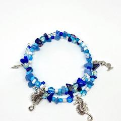 Blue Ocean Inspired Wrap Bracelet