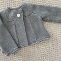 Grey Cardigan - Size 0- 6 months - Pure Wool - Hand knitted