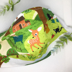 Fabric Face mask, with vintage woodlands and farmyard animals fabric