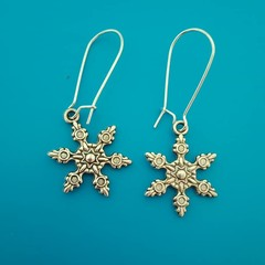Silver snowflake charm Christmas earrings