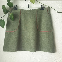 Warm Green Tweed Skirt - Size  18-22 - WINTER SALE