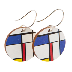 Sterling Silver & Wood Hook Earrings - Mondrian Block Colours - Eco Gift Ideas