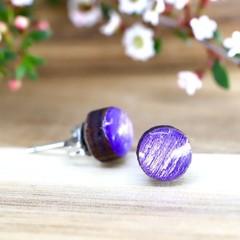 18mm Shimmering Purple Wood Stud Earrings - Titanium Earring Posts