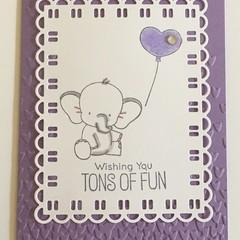 Kids Birthday Handmade Card - Elephant