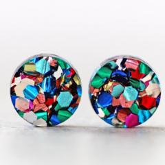 12mm Rainbow Glitter Acrylic Stud Earrings - Titanium Posts