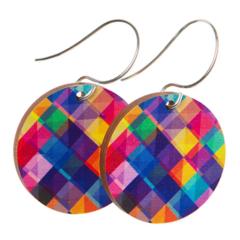 Sterling Silver & Wood Hook Earrings - Colourful Kaleidoscope - Eco Gift Ideas