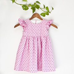 Handmade Cotton Flutter Girls Dress Size 3