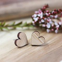 12mm Bamboo Heart Stud Earrings - Titanium Earring Posts - Sustainable Gifts