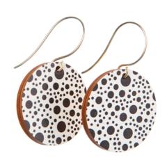 Sterling Silver & Wood Hook Earrings - Black & White Polka Dot - Eco Gift Ideas